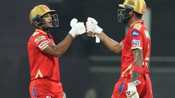 KL Rahul and Mayank Agarwal in action for Punjab Kings